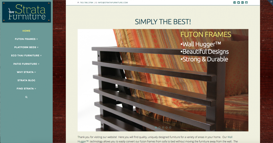 Strata Furniture also required a new website. I used WordPress as a platform to create a simple site that will be easy to update for the owners and staff.  www.stratafurniture.com