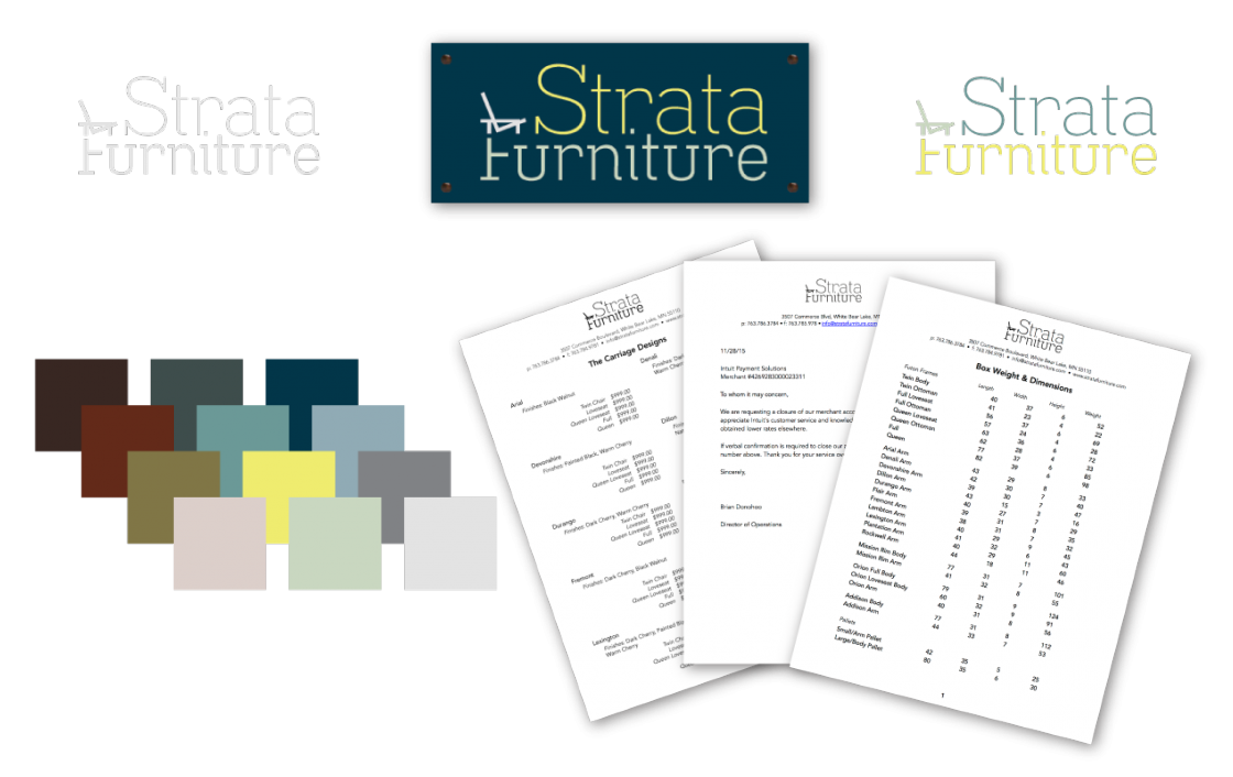 My first task as the Internal Creative Coordinator for Strata was to devise a new identity system and logo. Their best-selling product is the wall hugging futon, so I incorporated that into the logotype.