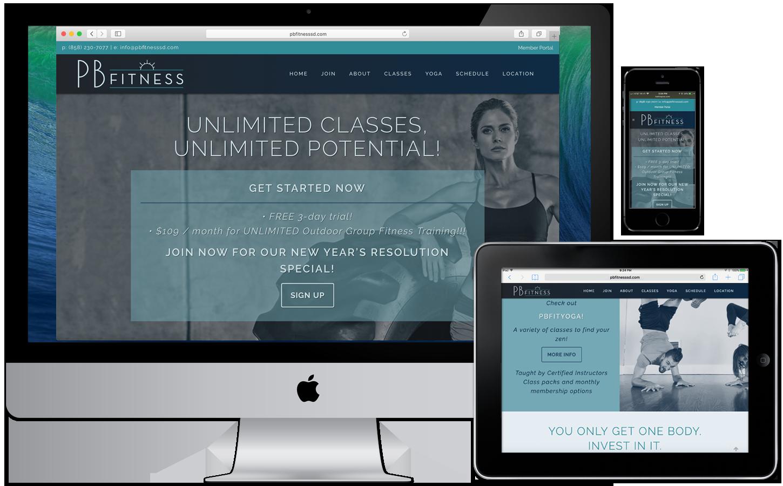 A new gym in San Diego needed a sleek, modern logo, brand scheme and website to launch in under 1 month. www.pbfitnesssd.com